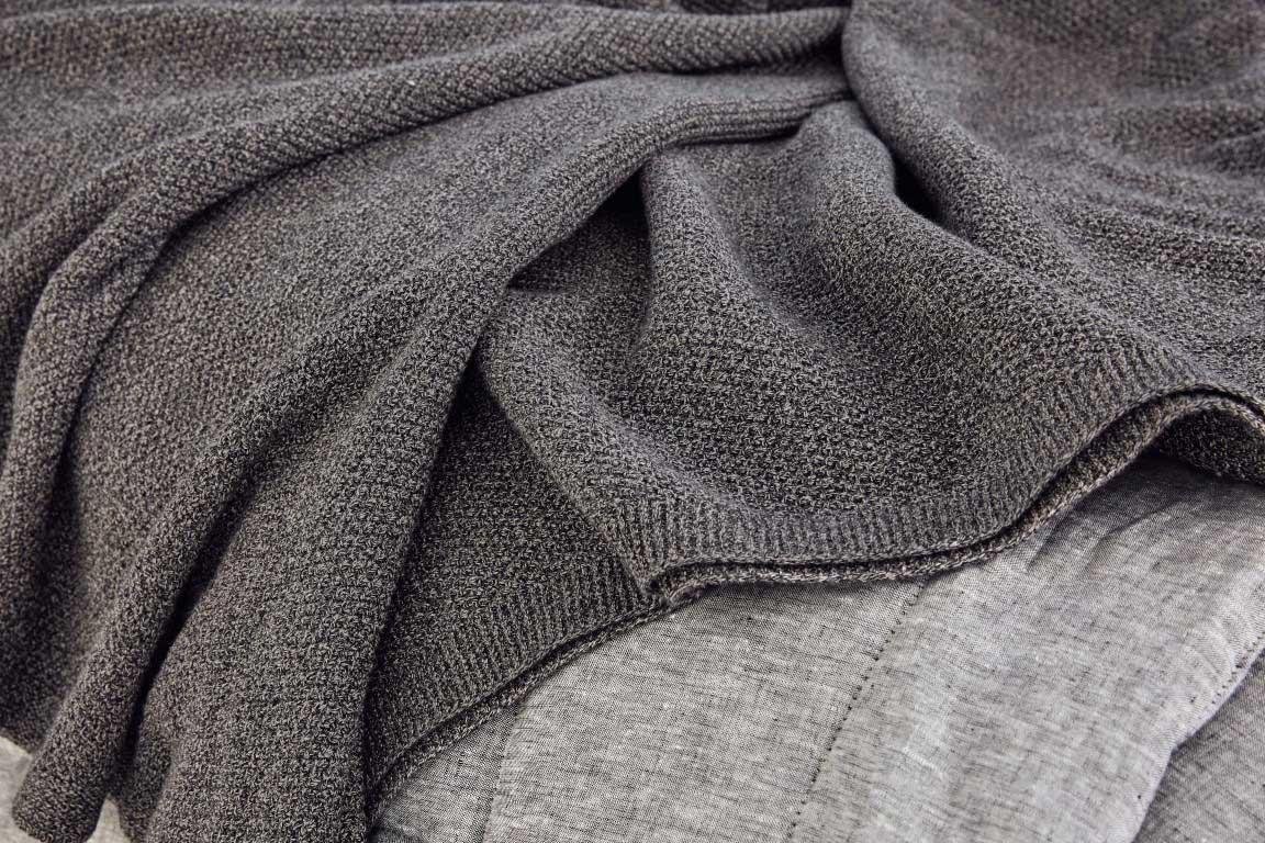 moss stitch knit in mocha marl colour