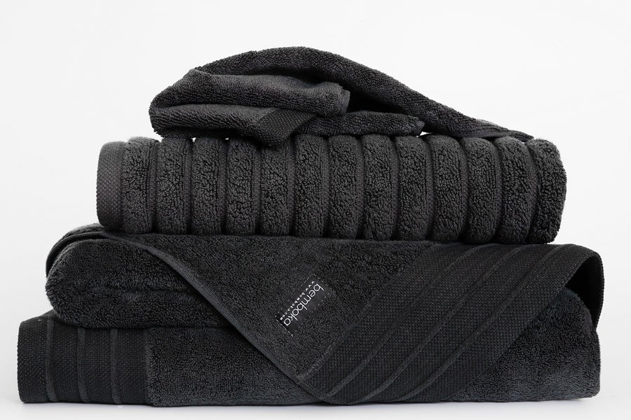 luxe towels in charcoal colour