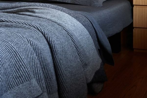 reversible rib knit in charcoal and grey