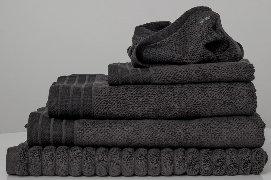 jacquard towels in charcoal colour