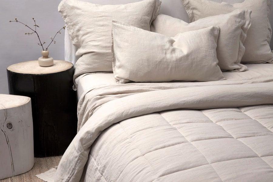 linen quilt in stone colour