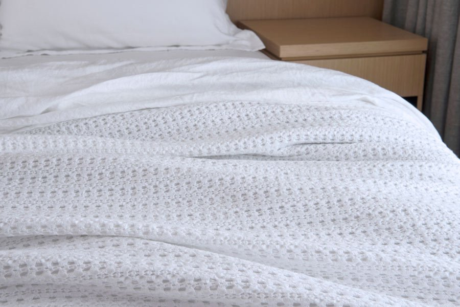 waffle blanket in white colour