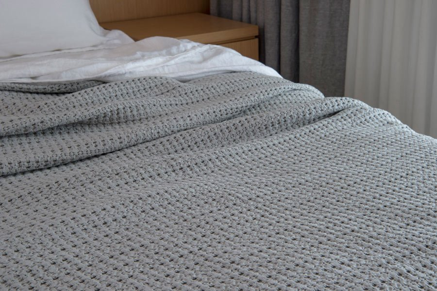 waffle blanket in dove colour
