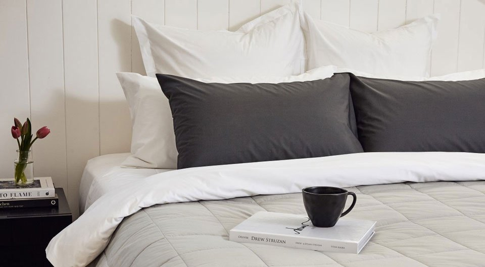 Bemboka percale cotton in white, dove and charcoal colours