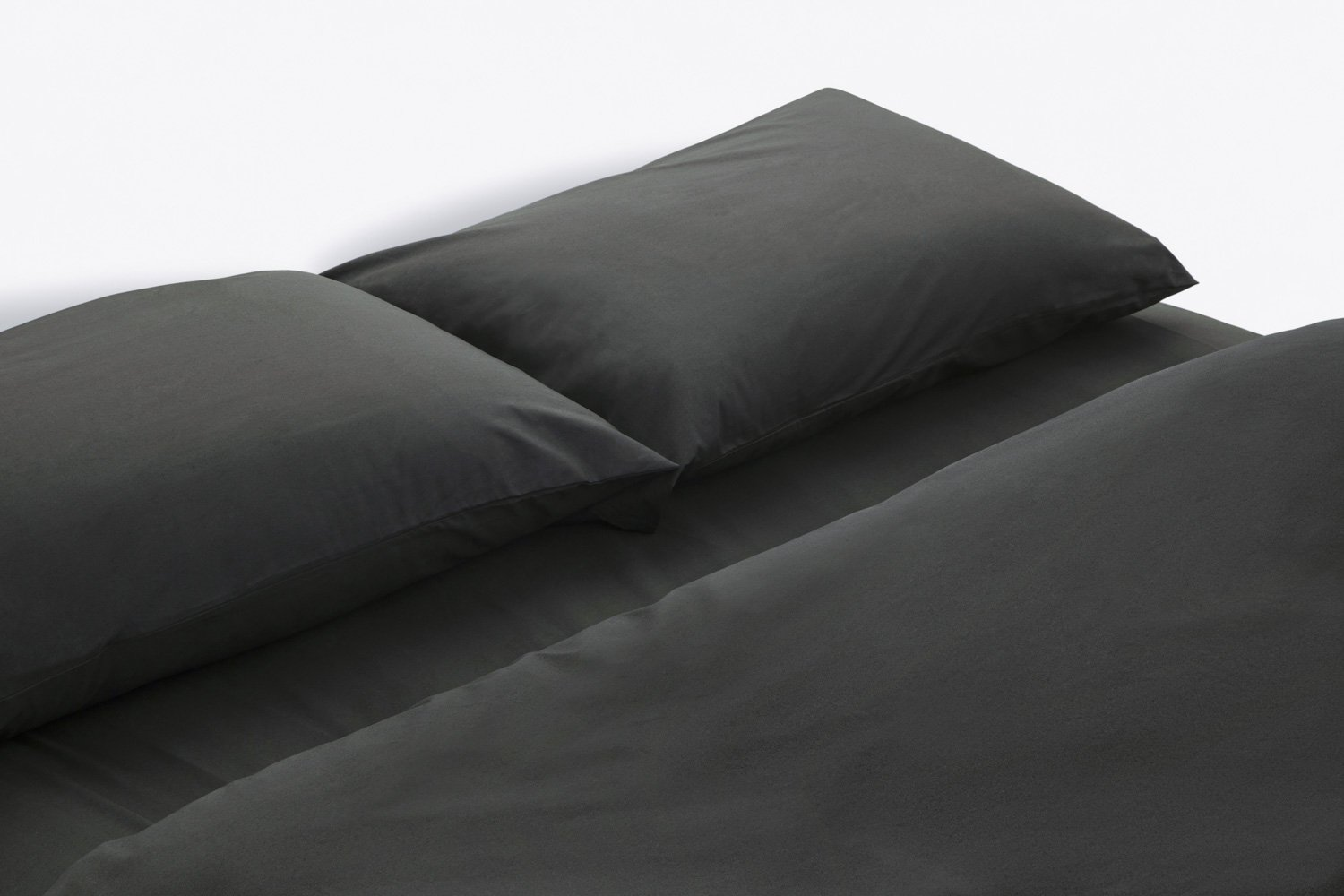 cotton percale duvet cover in charcoal colour