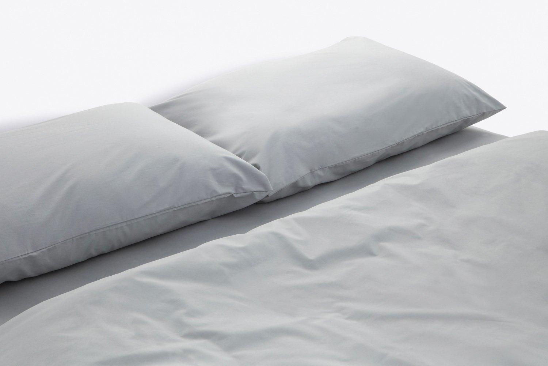 cotton percale duvet cover in dove colour