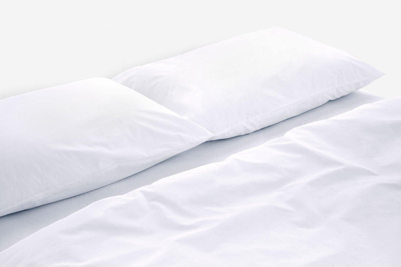 cotton percale duvet cover in white colour