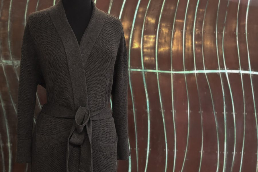 honeycomb bathrobe in charcoal colour