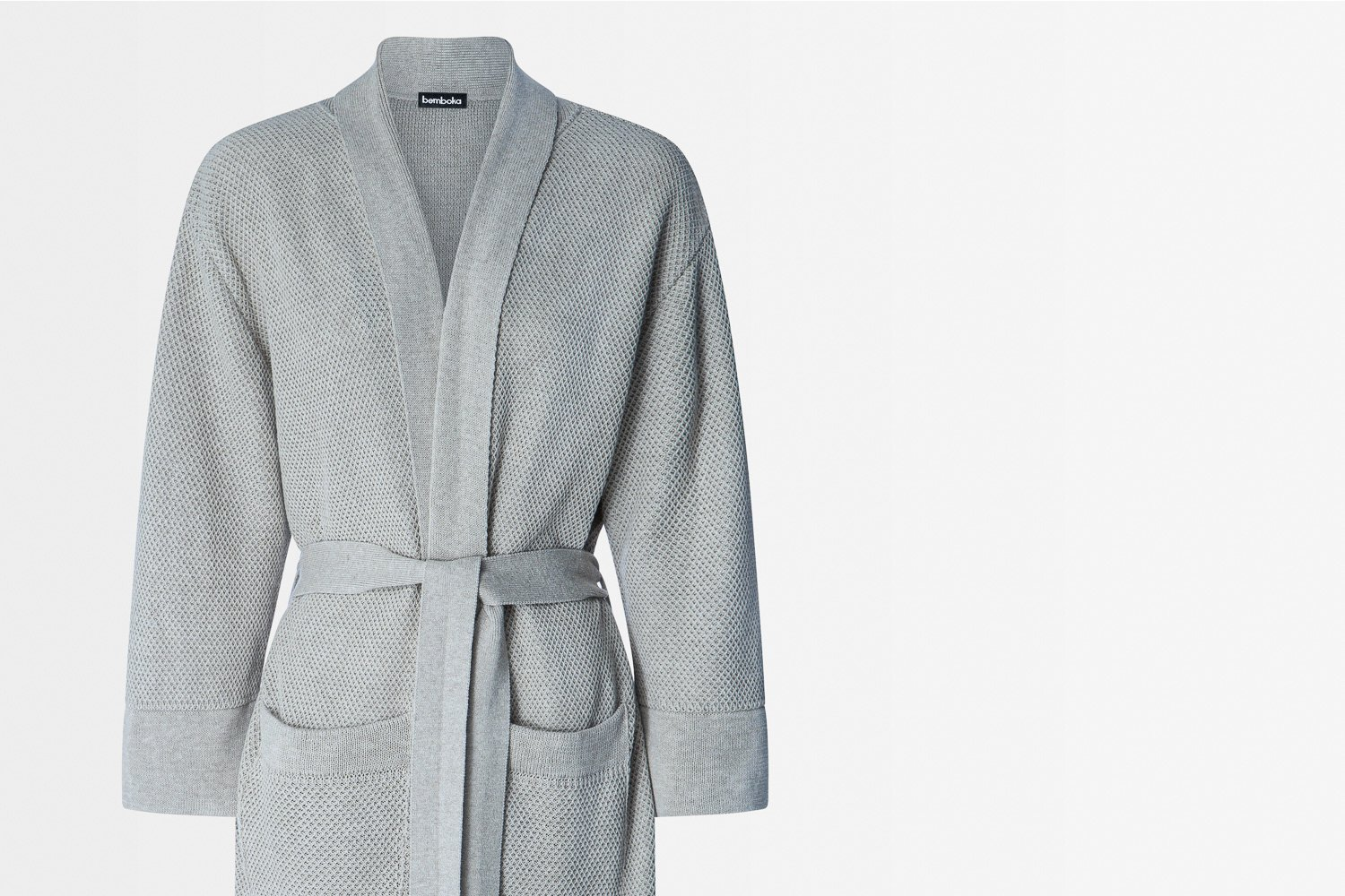 knitted bathrobe in dove colour