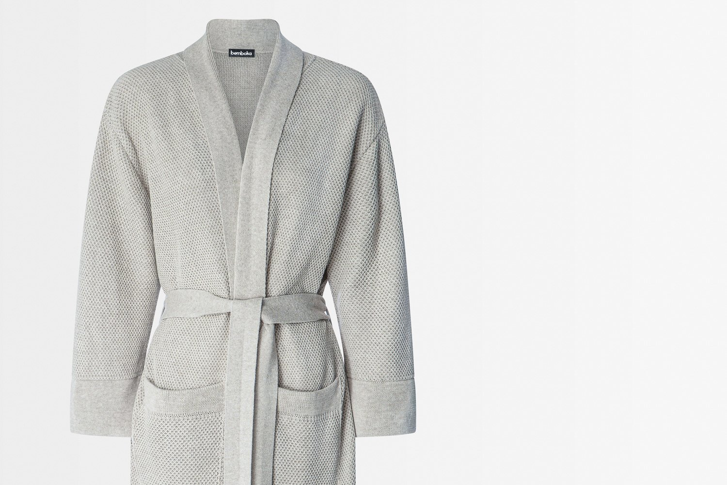 knitted bathrobe in oyster colour