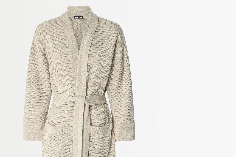 knitted bathrobe in sand colour