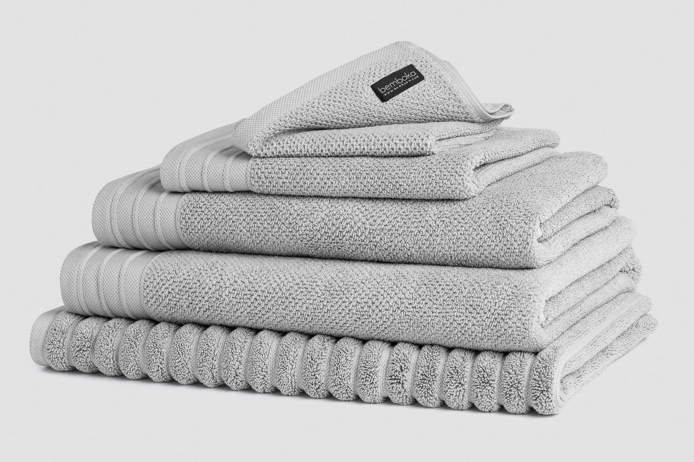 jacquard bath towels in dove colour