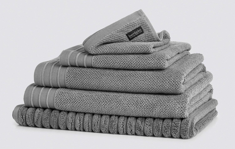 jacquard bath towels in grey colour