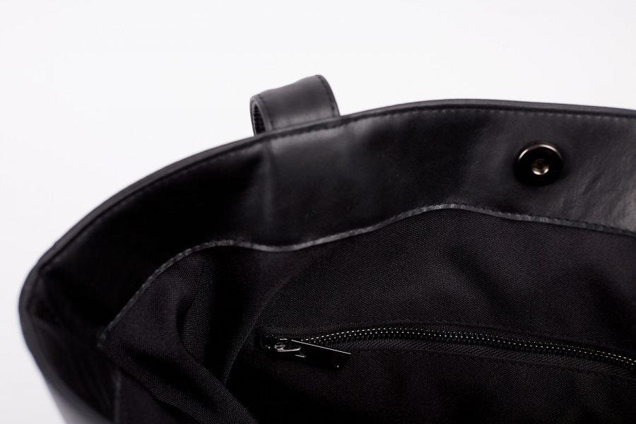 boralo tote in black italian leather