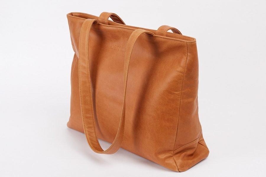 boralo tote in tan italian leather