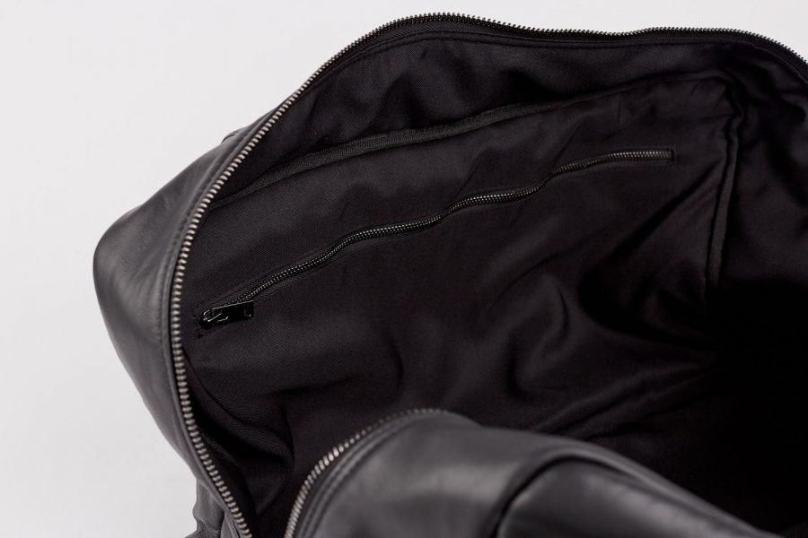 travel bag in black italian leather