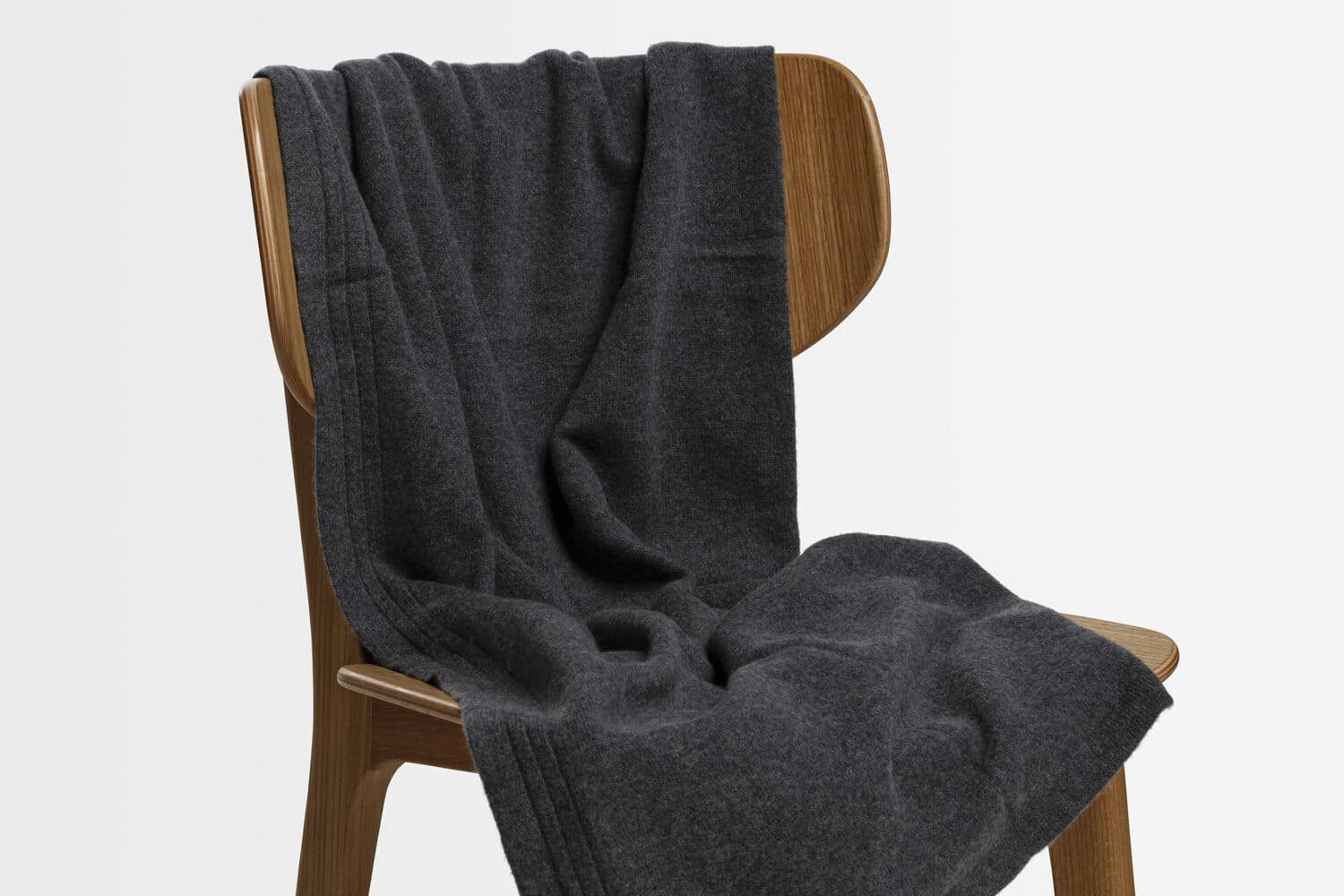 italian cashmere jersey throw in charcoal