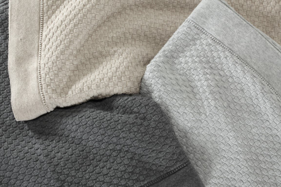 basketweave thorws - sand, oyster & grey