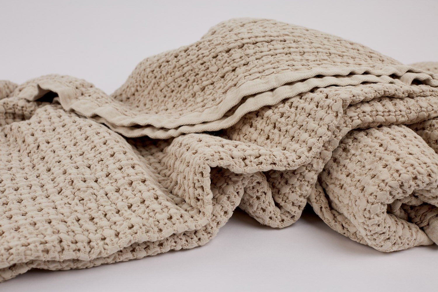 waffle blanket in wheat colour