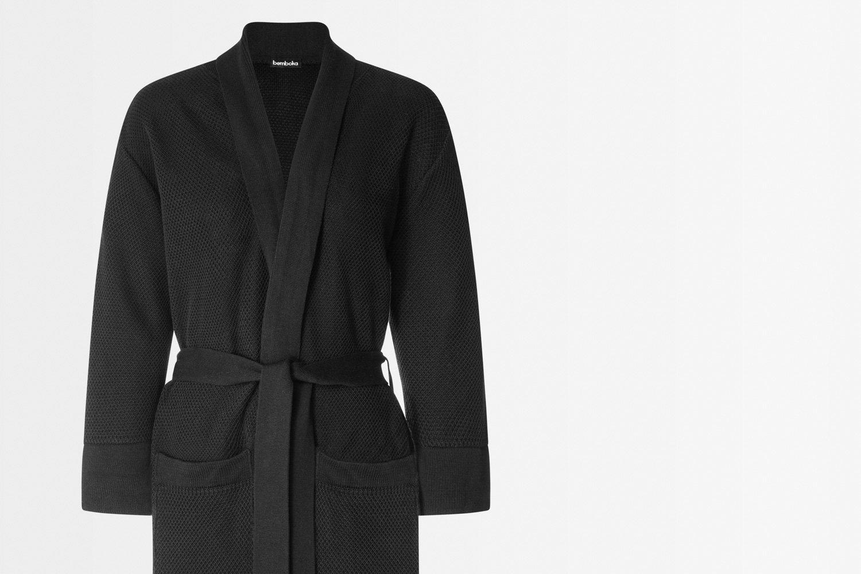 knitted bathrobe in black colour