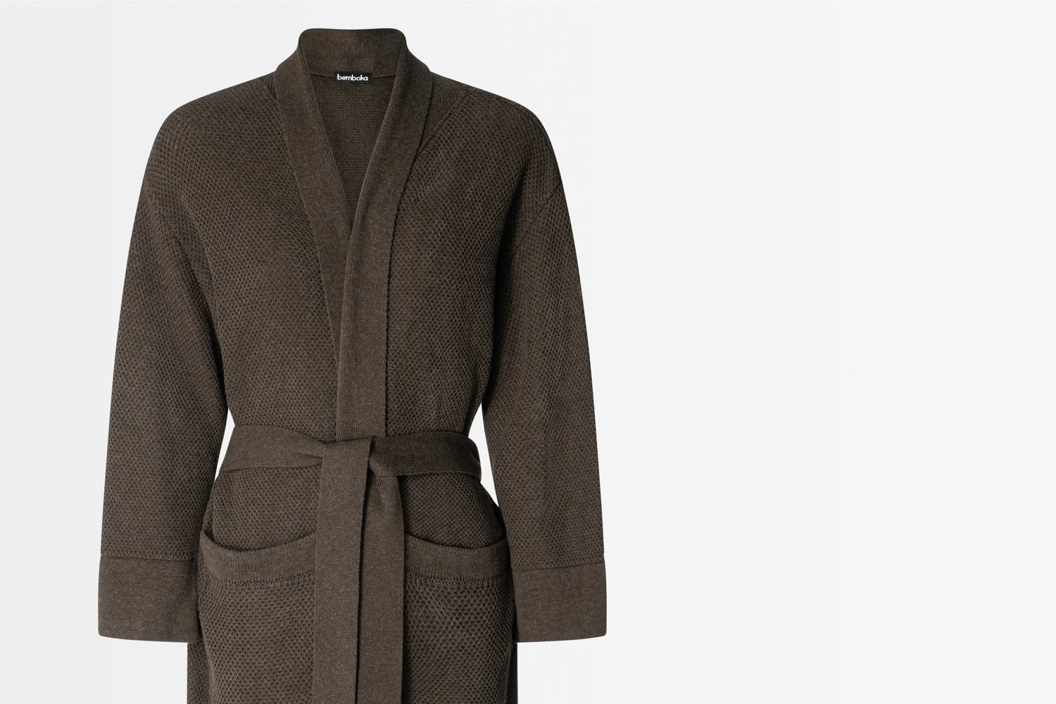 knitted bathrobe in chocolate colour