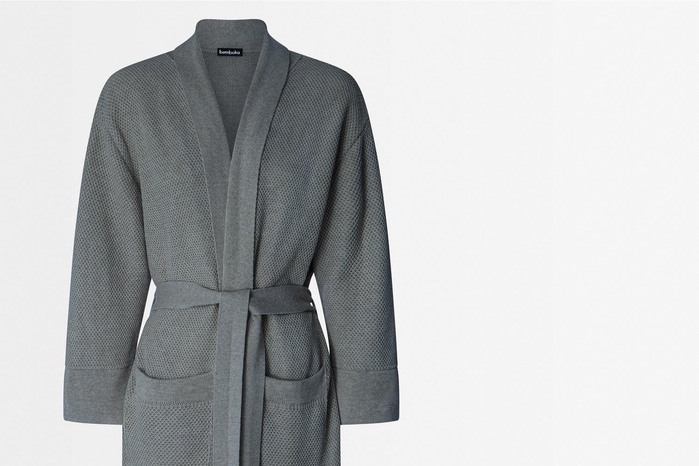 knitted bathrobe in grey colour