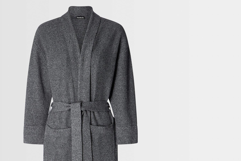 knitted bathrobe in marl grey colour