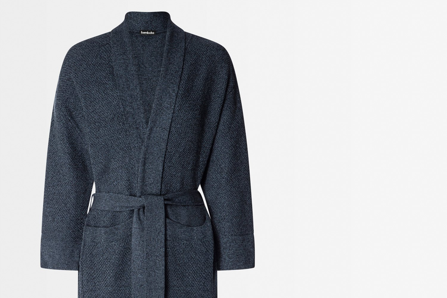 knitted bathrobe in marl ink colour
