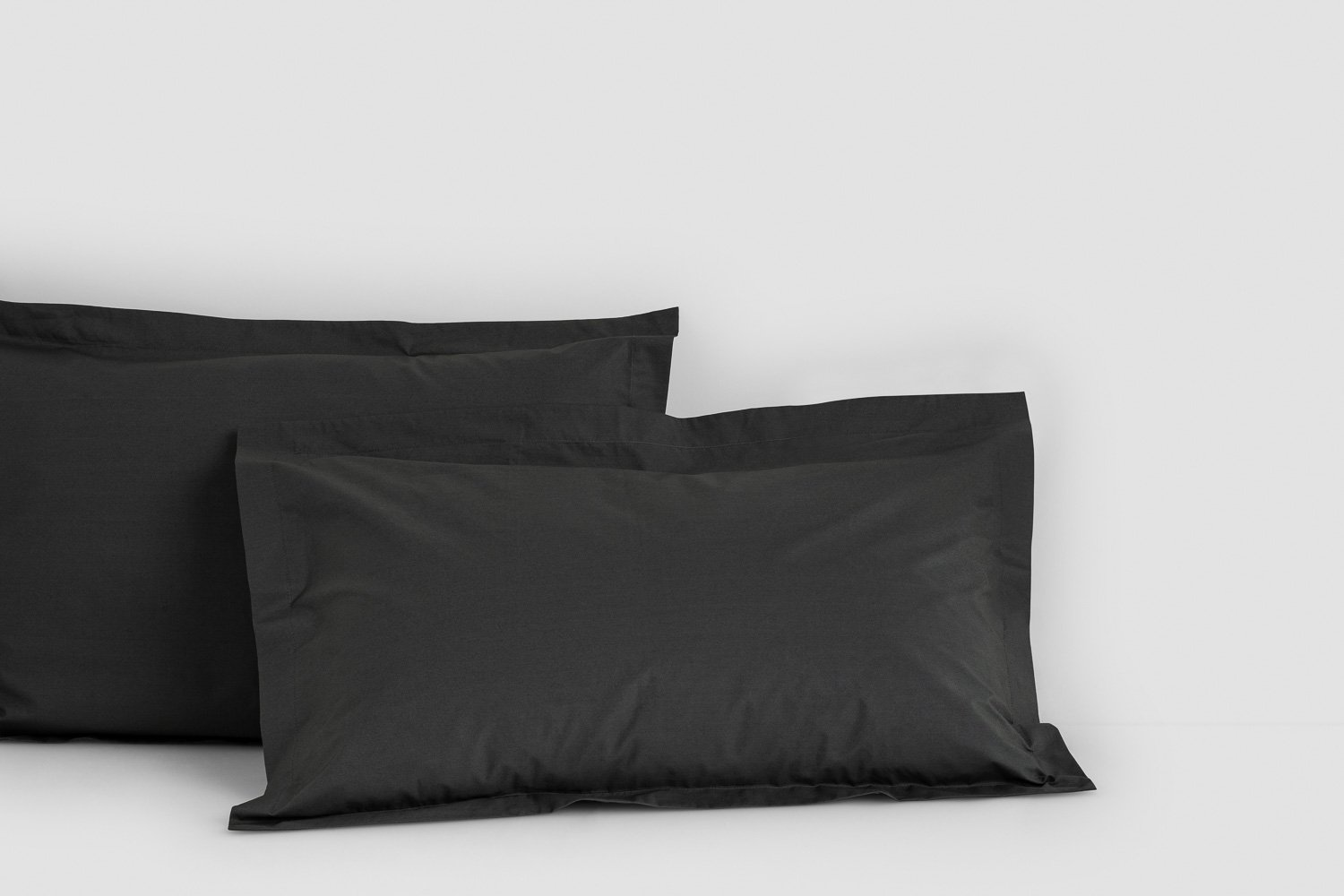 cotton percale tailored pillow cases in charcoal